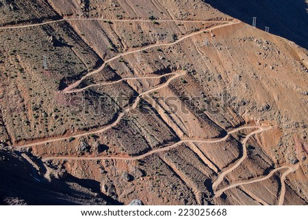 Winding road in High ATlas, Morocco, Africa - stock photo