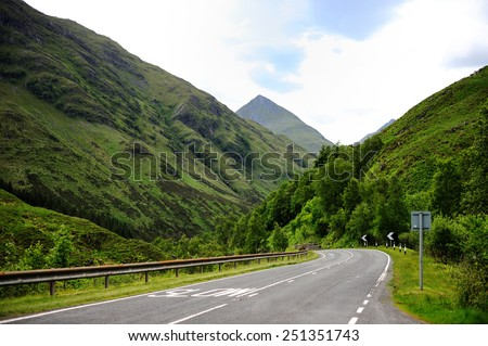 Winding road in the mountains of Scotland