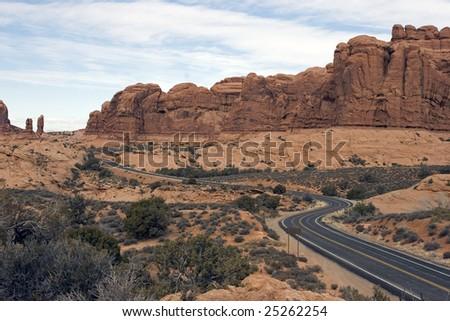 Winding road meanders through Arches National Park, Utah - stock photo