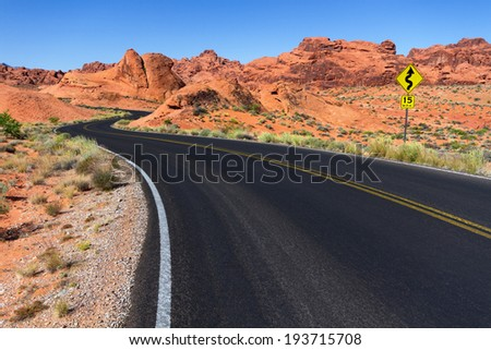 Winding road through red rocks, Valley of Fire State Park, Nevada.