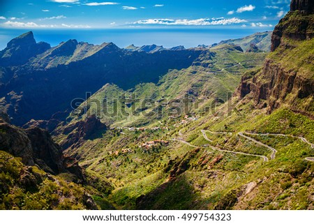 winding roads and mountains near Masca village, Tenerife, Canary Islands, Spain