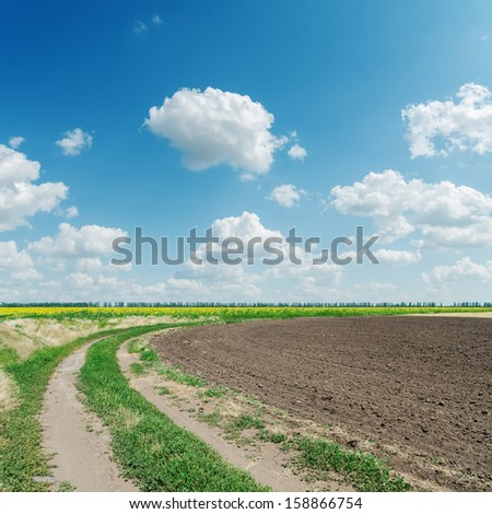 winding rural road goes to cloudy horizon