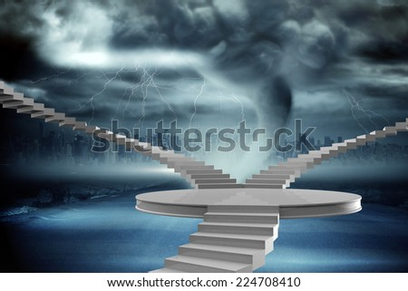 Winding stairs against stormy sky with tornado over road - stock photo
