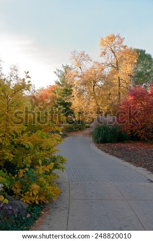 winding tree-lined path at olbrich botanical gardens during autumn in Madison Wisconsin - stock photo