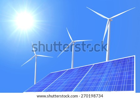 windmil and solar cell panel on blue sky background