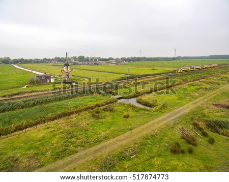 Windmill aerial view at holland country side, Netherlands