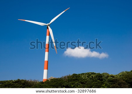 windmill and cloud in blue sky