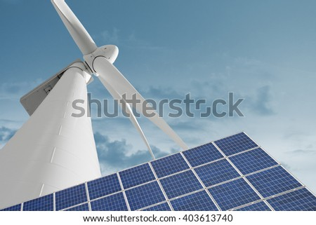 Windmill and solar cell for ecologic and renewable electric energy production - stock photo