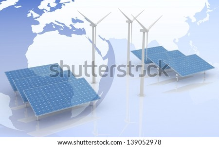 Windmill and Solar Panels on world map background. Alternative Energy Concept. - stock photo