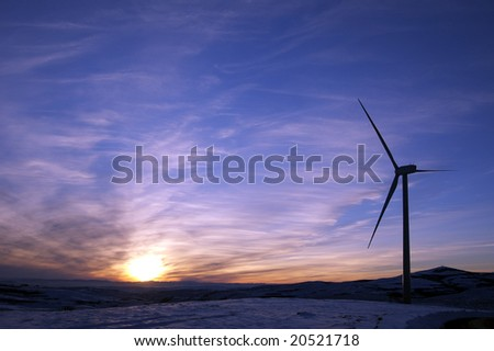 Windmill and sunset