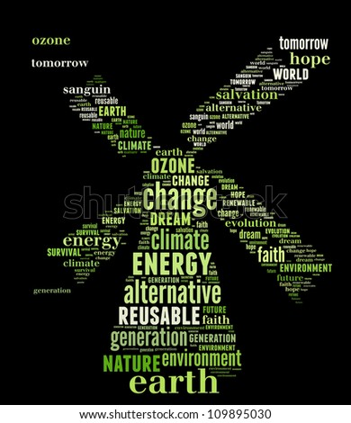 Windmill as renewable energy: text graphics with black background - stock photo