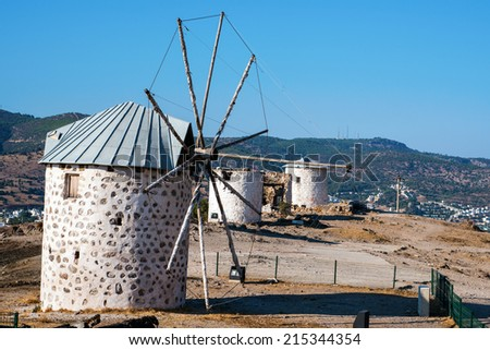 Windmill at Bodrum, Turkey - stock photo