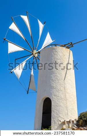 Windmill at Crete island, Greece