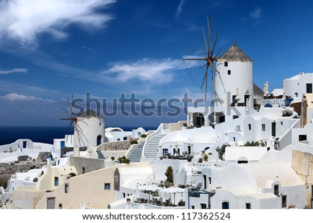 Windmill. Beautiful views of Santorini