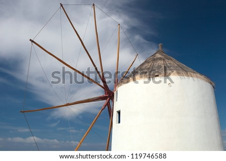 Windmill. Beautiful views of Santorini - stock photo