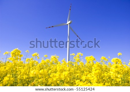 Windmill conceptual image. Windmill between yellow flowers in summer.