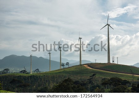 Windmill farm in Sri Lanka - stock photo