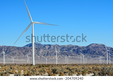 Windmill farm in the desert of Imperial Valley California. - stock photo