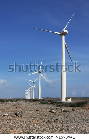 Windmill farm Wind farm or Wind turbines to harvest wind energy. Located on the Hato plains on Curacao
