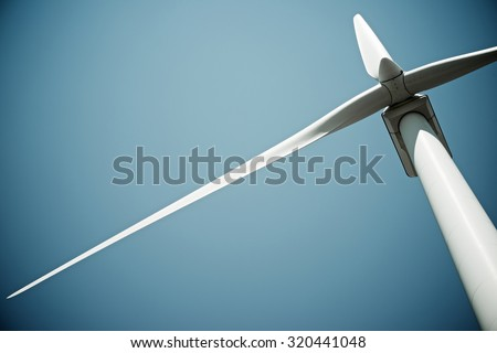 Windmill for electric power production, Burgos Province, Castilla Leon, Spain. - stock photo