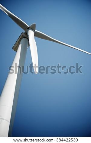 Windmill for electric power production, Burgos Province, Castilla Leon, Spain. - stock photo