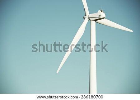 Windmill for electric power production, La Muela, Zaragoza Province, Aragon, Spain. - stock photo