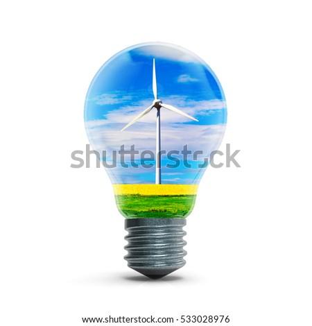windmill generators inside light bulb isolated stock illustration
