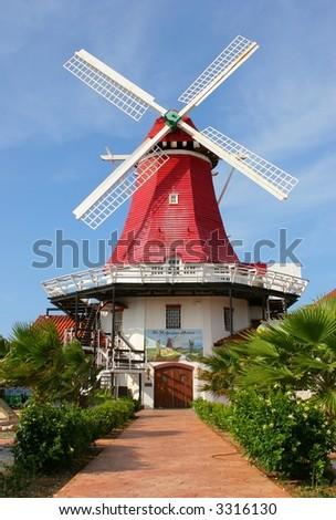 Windmill in Aruba - stock photo