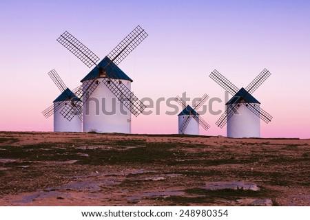 windmill in Campo de Criptana, La Mancha, Spain - stock photo