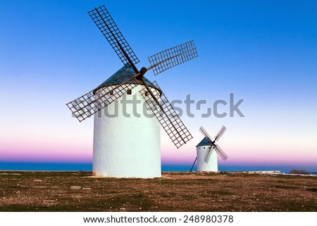 windmill in Campo de Criptana, La Mancha, Spain - stock photo
