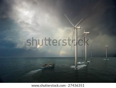 Windmill in ocean. Storm rising - stock photo