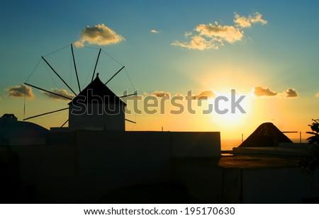 Windmill in Oia, Santorini, Greece - stock photo