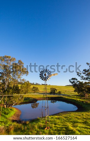 Windmill in rural South Australia - stock photo