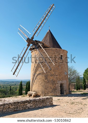 Windmill in St Saturnin, Provence - stock photo