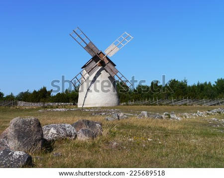 windmill in sweden - stock photo