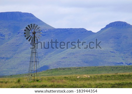 Windmill in the Karoo, South Africa - stock photo