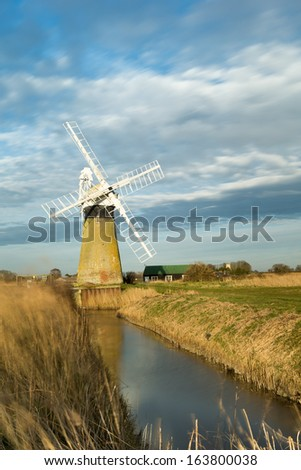 Windmill in the Norfolk broads on a spring evening