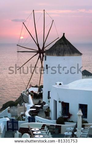 Windmill in the Oia village, Santorini, Greece - stock photo
