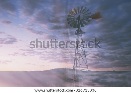 Windmill in the outback of Queensland, Australia.