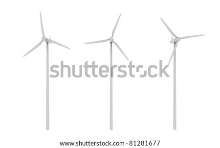 Windmill isolated on white background - stock photo