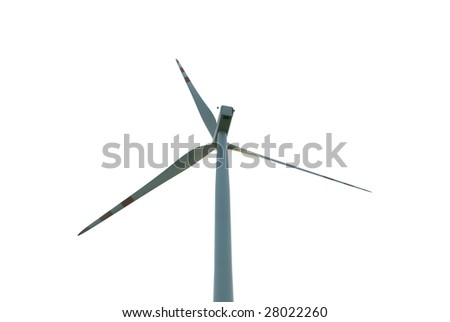 Windmill isolated on white  from back