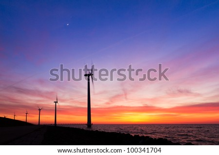 Windmill landscape sunset moon