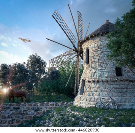 windmill on sunset background and plane travel technology concept composition - stock photo
