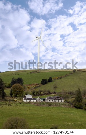 windmill on the hills of Glenough in county Tipperary Ireland