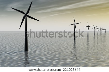 Windmill park in ocean - stock photo
