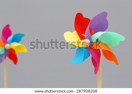 windmill spinning in wind  - stock photo