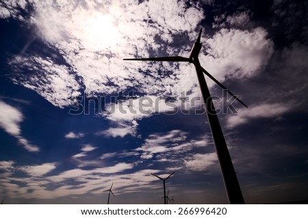 Windmill Wind Turbine Renewable Green Energy Source - stock photo