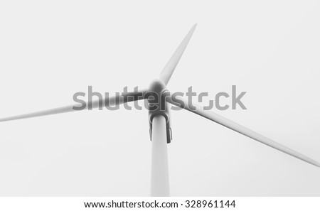 Windmill with three blades view from below. On blue sky. Eolic energy. Closeup and  black and white photography.  - stock photo