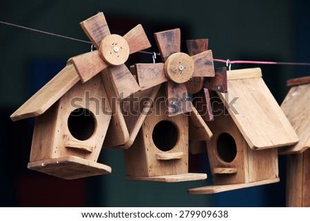 windmill wooden bird house - stock photo