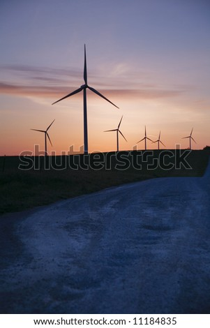 windmills and road